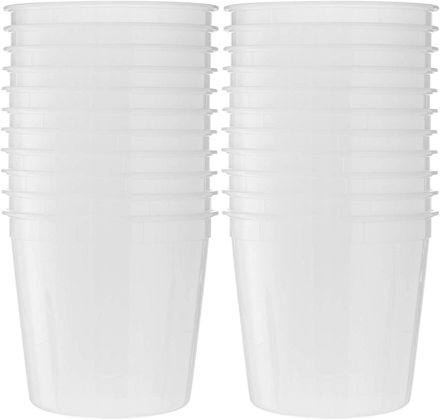 Basix Round Clear Food Storage Deli Container With Lids, Perfect For Meal Prep Soup, Ice Cream, Freezer, Dishwasher And Microwave Safe [20 Count 168 Oz Combo]