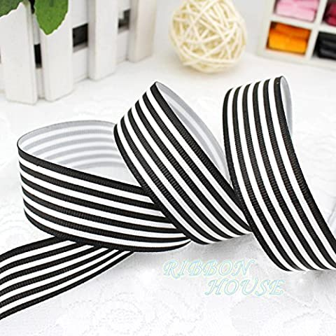 FunnyPicker (5 Yards/Lot) 1'' (25Mm) Black And White Stripe Grosgrain Ribbon Printed Gift Wrap Ribbon Decoration Ribbons