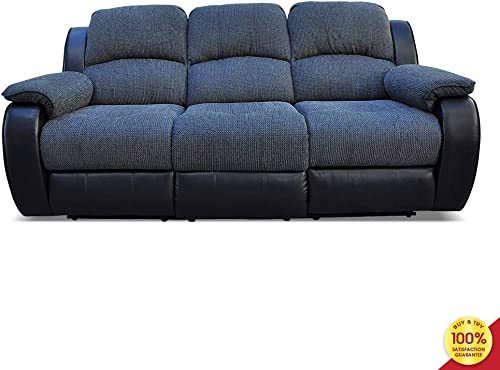 Hooseng 3 seat, Navy Blue Sectional Chenille Fabric and Black Bonded Leather Manual Chair for Living Room, Recliner Sofa