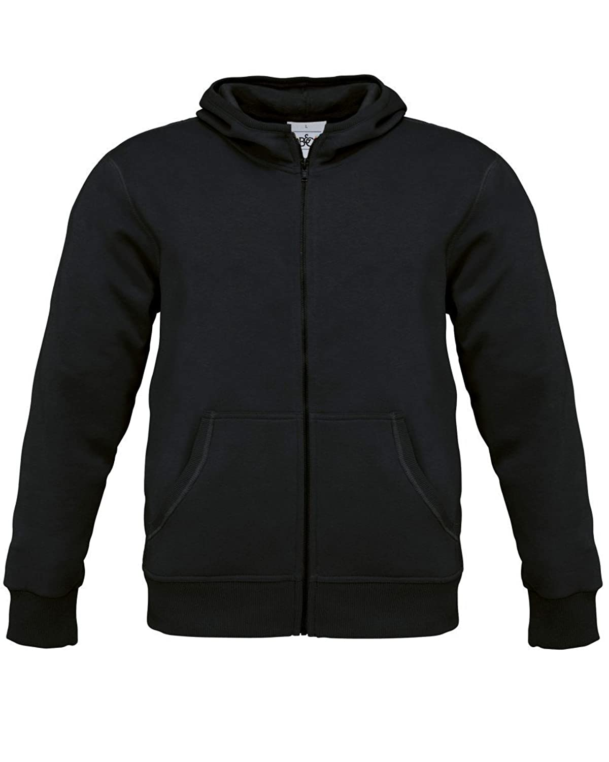 B&C Collection Monster Mens Zip Up Hoodie Hooded Sweatshirt Black M