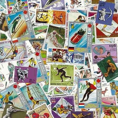 Colección de sellos Juegos Olímpicos obliterar, 100 ejemplares