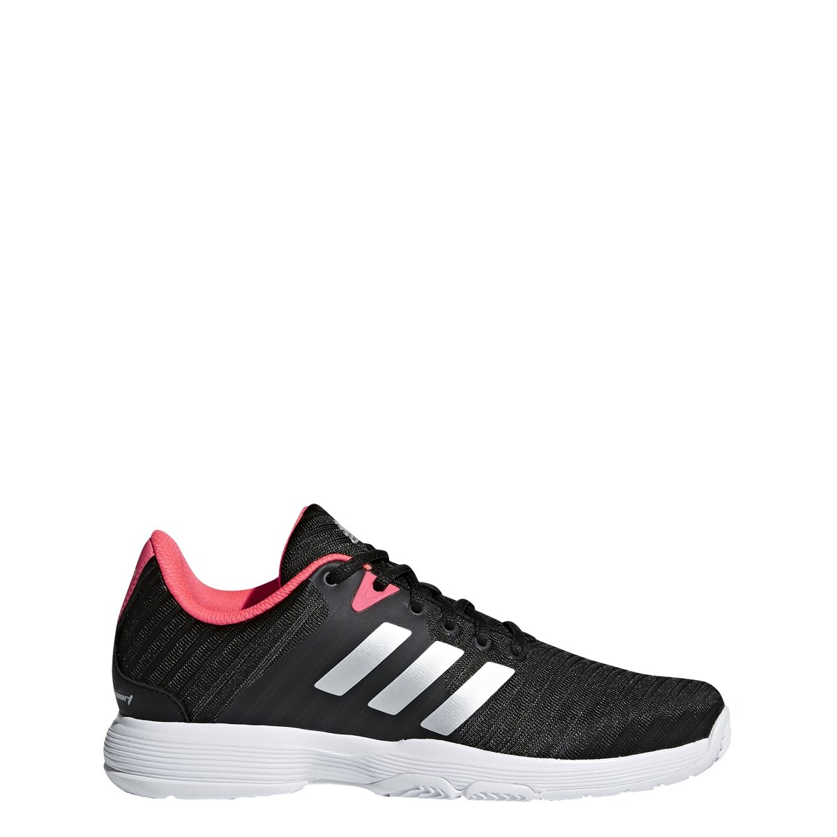 adidas Women's Barricade Court Tennis Shoe, Black/Matte Silver/Flash Red, 7 M US