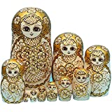 LK King&Light - 10pcs Golden of Plum Pattern Russian Nesting Dolls Matryoshka Wooden Toys