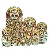 LK King&Light - 10pcs Golden of Plum Pattern Russian Nesting Dolls Matryoshka Wooden Toys