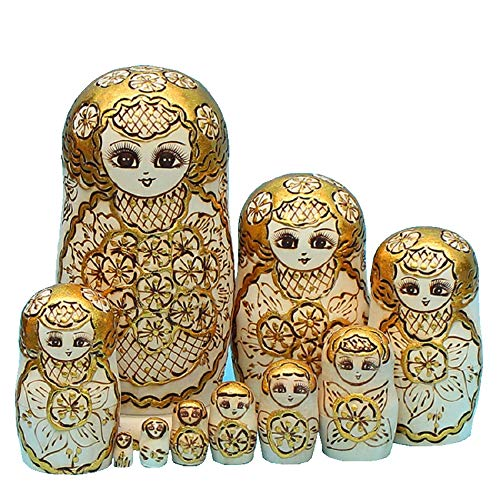LK King&Light - 10pcs Golden of Plum Pattern Russian Nesting Dolls Matryoshka Wooden Toys by LK