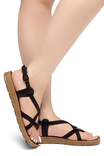 9a35a579bd99f5 Herstyle Smooth Move Women s Open Toes Gladiator Ankle Strap Thong Flat  Sandals Shoes Black 5.0