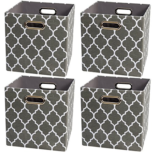 Collapsible Storage Cubes Organizer Basket Bin Container for Shelf,Drawers,Cabinet, Closet,Chest (4, Grey lantern print)