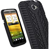 iGadgitz Black Silicone Skin Case Cover with Tire Tread Design for HTC One X S720e & HTC One X+ Plus Android Smartphone Cell Phone + Screen Protector (NOT Suitable For HTC ONE M7)