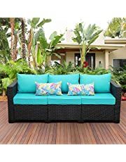 3-Seat Patio PE Rattan Wicker Couch, Outdoor Rattan Sofa Furniture Steel Frame with Furniture Cover and Deep Seat High Back, Cushioned