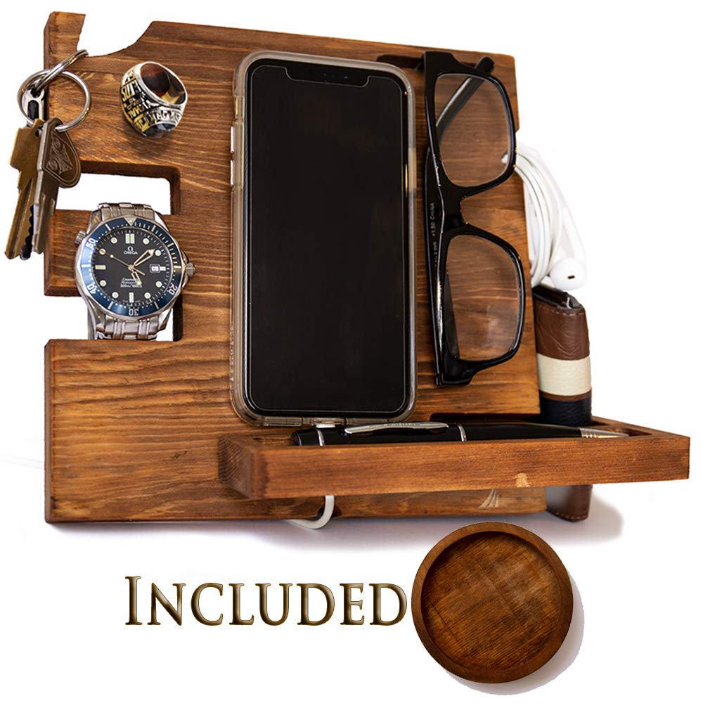 Wooden Docking Station for Men and Women- Nightstand Organizer with Coaster - Charges Smartphone and Holds Keys, Watch, Wallet, Glasses, Ring, Pen, Coins, Mugs Varnish Finish by Peraco