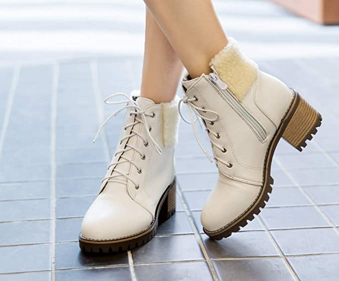 SHANGWU Womens Ankle Winter Boots Ladies Army Combat Flat Grip ...