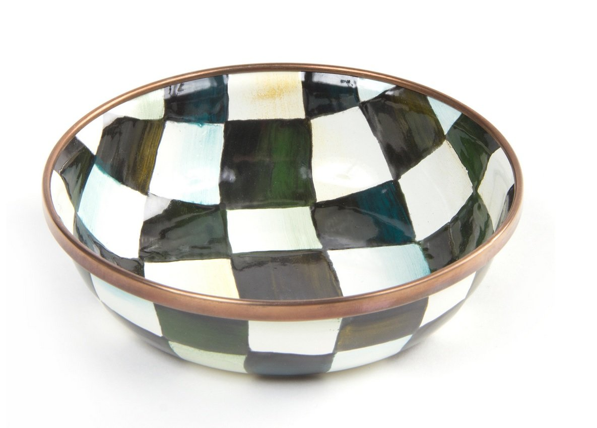 MacKenzie-Childs Courtly Check Enamel Relish Dish - Stainless Steel Round Plate - Black and White Print 4.5'' Dia.