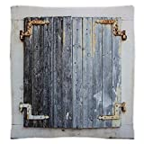 iPrint Super Soft Throw Blanket Custom Design Cozy Fleece Blanket,Shutters,Wooden Window Shutters with Shabby Paint Rusty Antique Traditional Village Picture,Charcoal,Perfect for Couch Sofa or Bed
