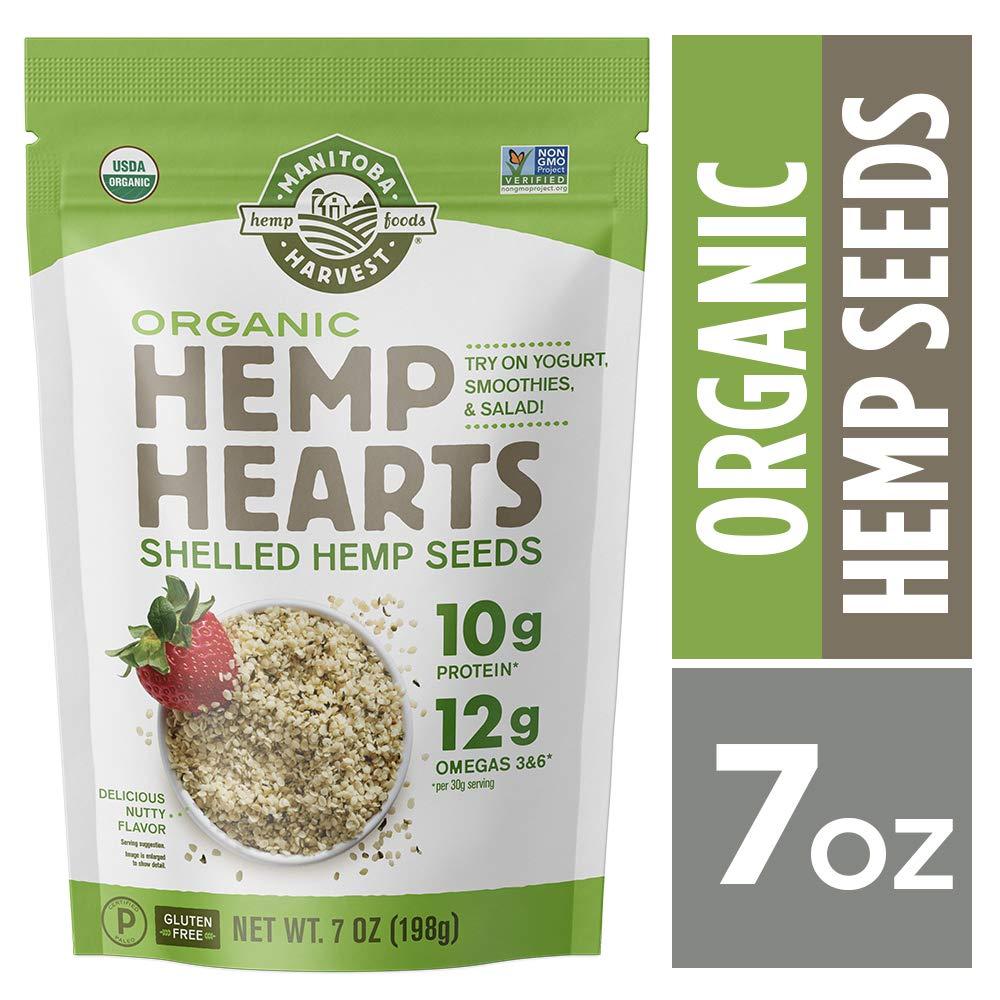 Manitoba Harvest Organic Hemp Hearts Raw Shelled Hemp Seeds, 7oz; with 10g Protein & 12g Omegas per Serving, Non-GMO, Gluten Free