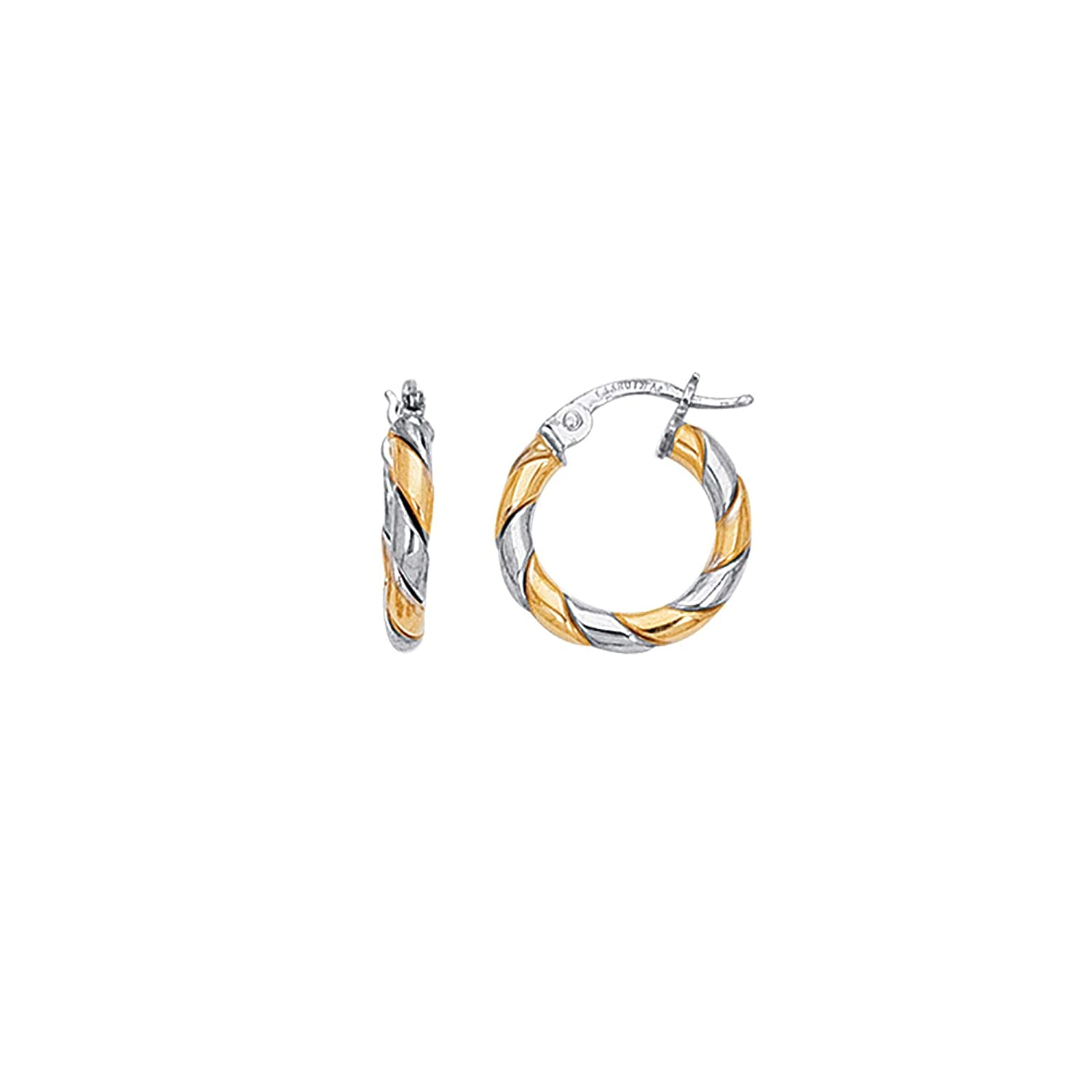 14K Yellow /& White Gold Shiny Two Tone Small Twisted Hoop Earrings with Hinged by IcedTime