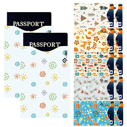 Credit Card Sleeves, I3C Credit Card Protector Passport Sleeve Anti-Theft RFID Blocking Credit Card & Passport Holder Protector Sleeves (10 Credit Card, 2 Passport, 12-Pack)