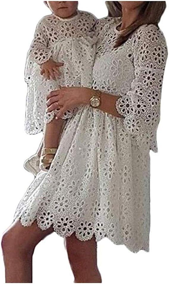 Abito per Madre e Figlia Elegante Manica 1//2 Casual Vestito da Donna Bambina Cocktail Abiti da Festa Famiglia Abiti Coordinati