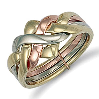 9ct Yellow Gold 20mm 4 Piece Puzzle Ring Amazon Jewellery