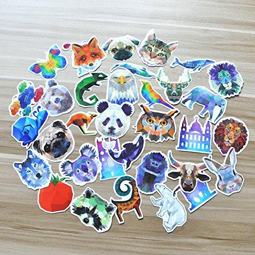 35Pcs Sticker of Different Animals PVC Decals Waterproof Sun