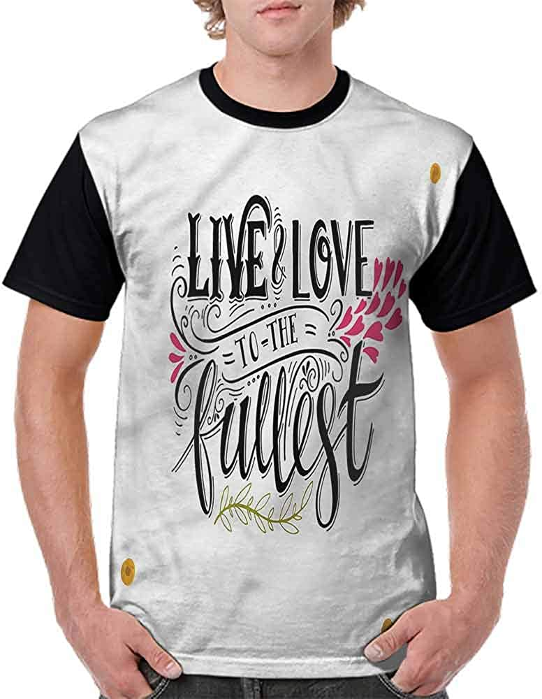 BlountDecor Performance T-Shirt,Live to The Fullest Retro Fashion Personality Customization