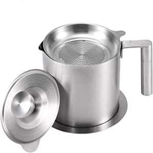 AQUIVER 1.2L Grease Strainer - Stainless Steel Oil Container with Removable Filter - Dustproof Lid & Dripproof Base - Bacon Grease Storage Can for Reusable Cooking Frying Oil, Fat