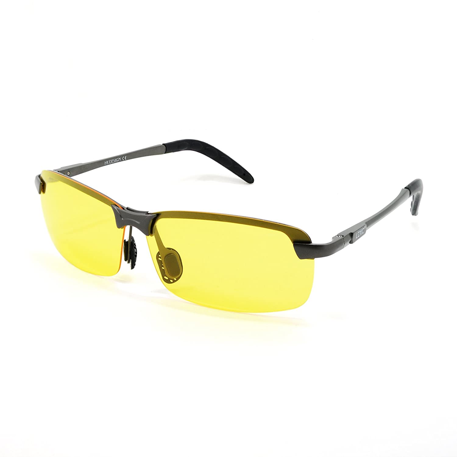 1f3461c8a42fc LZXC Gun Color Frame AL-MG Temple Night Driving Polarized Sunglasses Yello  Lens