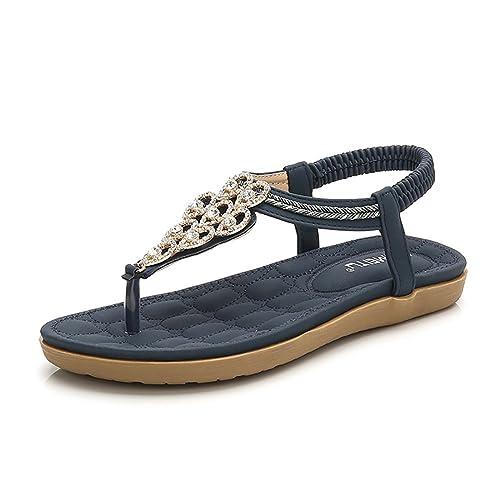 635e33214ae Wollanlily Women s Rhinestone Flat Sandals Glitter Shoes Bohemian Summer  Beach T-Strap Flip-Flops