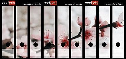 codiarts Juego 9 Pieza Carpeta de Etiquetas Autoadhesivas (Lomo de archivadores Adhesivos) Flores de