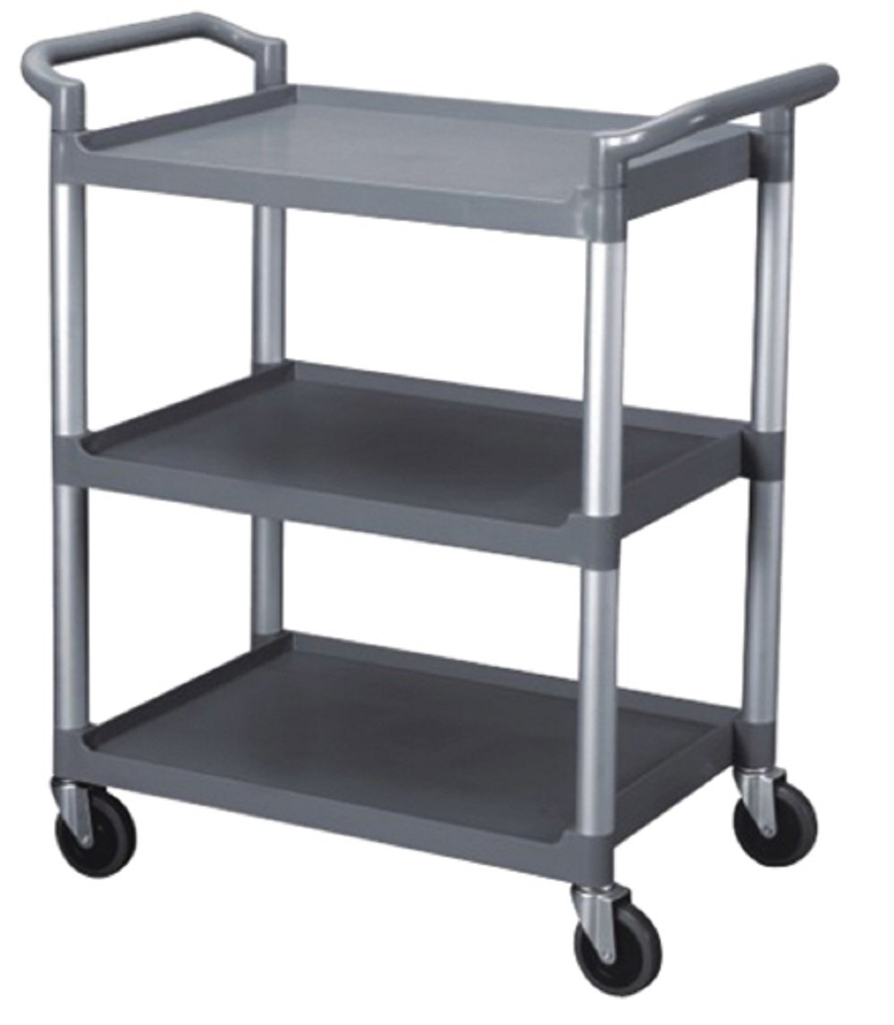 BUS CARTS BLACK & GREY MADE FOR CLEAN UP, TRANSPORT BINS WITH CASTERS AND LOCKING CASTERS (40.5'' X 19 3/4'' X 37 7/8'', Grey)