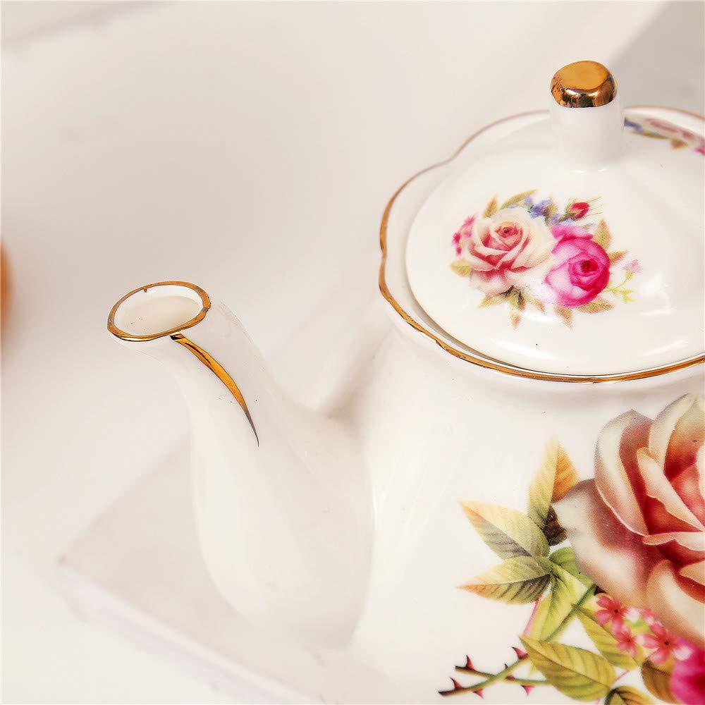 Orange Flower Painting Bone China Tea Service Coffee Set With Metal Holder For Wedding And Gift ufengke 9 Piece European Ceramic Tea Set