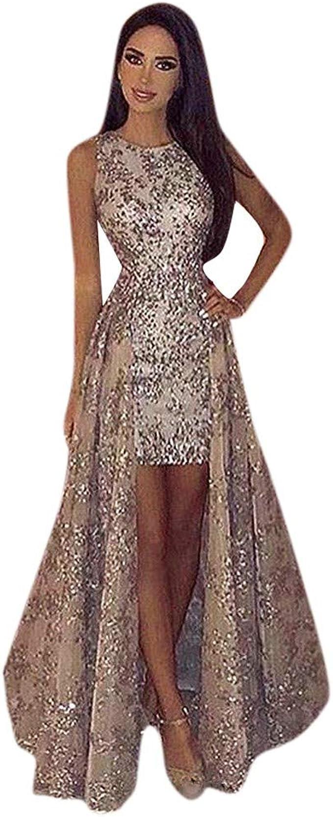 Glitzer Kleider Damen Abendkleid Cocktailkleid Lang Partykleid Elegant  Ballkleid Prinzessin Ärmellos Brautjungfernkleider