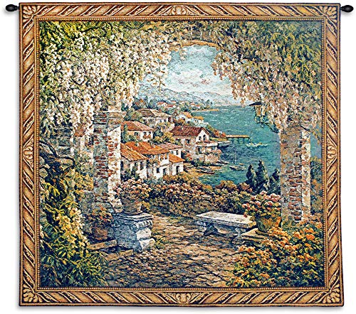 Seaview Hideaway by Yurie Lee | Woven Tapestry Wall Art Hanging | Mediterranean Garden Seaside View | 100% Cotton USA Size 53x53
