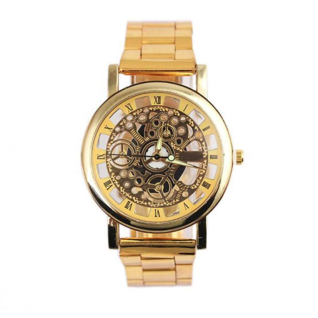 Nmch Luxury Watch Fashion Men Sliver&Gold Steel Strip Mechanical Gear Watch Wristwatch Clearance (Sliver)