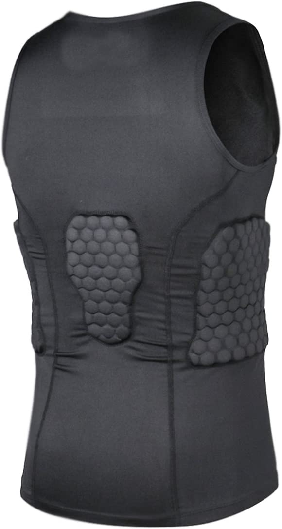 Black M Hockey Padded Compression Vest Sleeveless Shirt Chest Protector Tank Top for Rugby Basketball Football Paintball Skateboard Skiing Vest Shirt for Mens Boys