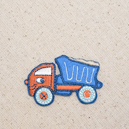 Blue and Orange Dump Truck Iron on Embroidered Patch
