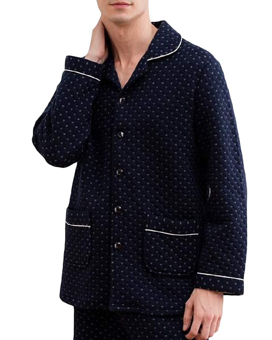 Etecredpow Mens 2 Pieces Long-Sleeve Loungewear Quilted Thicken Pajama Sets
