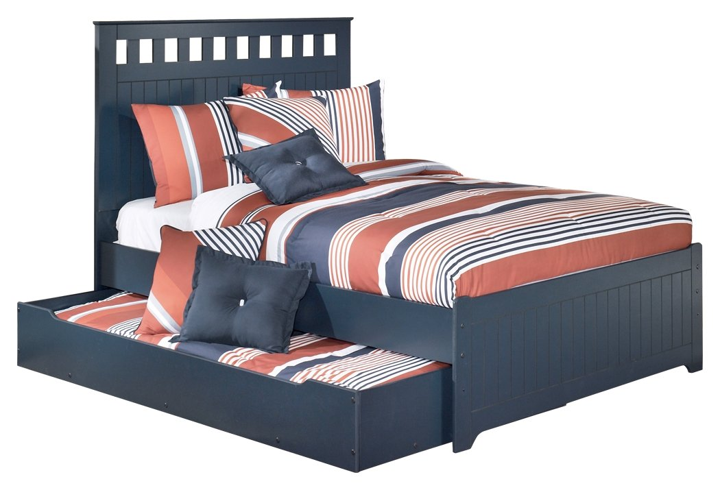 Ashley Furniture Signature Design - Leo Kids Bedset with Headboard, Footboard & Storage - Childrens Full Size Panel Bed - Navy Blue