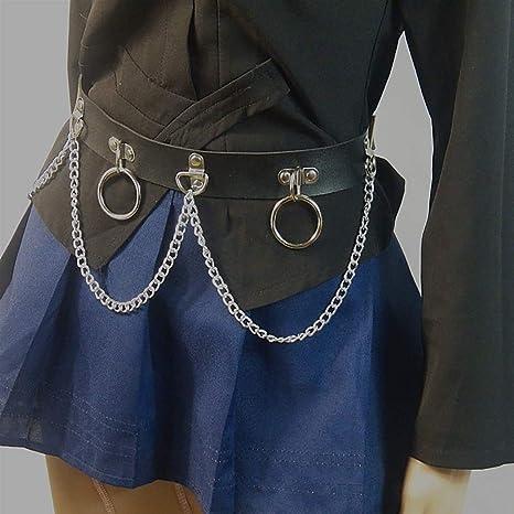 per Street Dance Street Cintura da donna in finta pelle punk con anelli in metallo e catene decorate regolabile Yodensity