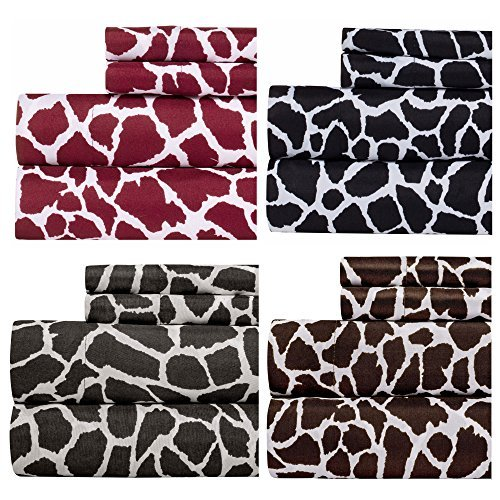 Weavely Animal Print Best Quality Bedding Sheet Set, Extra Deep Pockets Fitted Sheets, 100% Luxury Super Soft Microfiber Sheet Set, 4-Piece Set - Brown - Queen