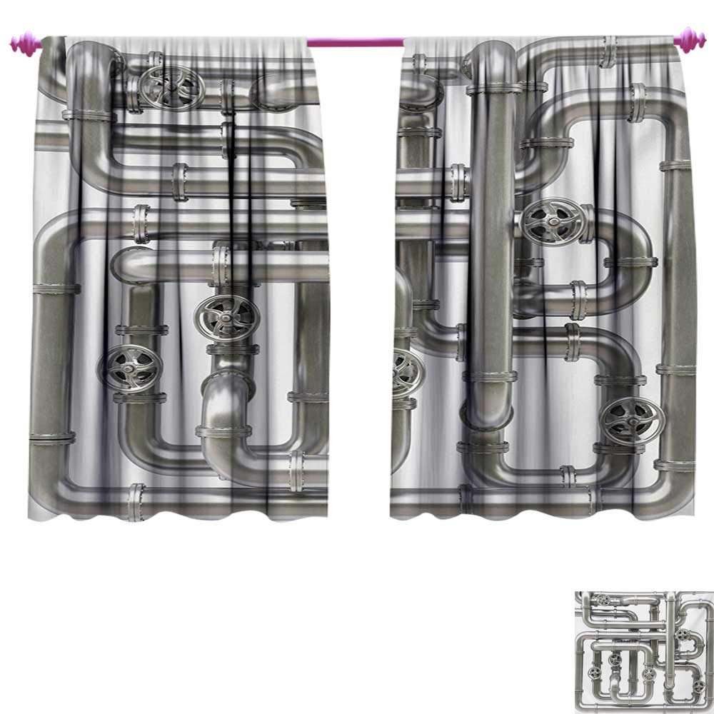 cobeDecor Industrial Waterproof Window Curtain Maze of Pipelines Faucets and Valve Gasoline Engineering Themed Print Patterned Drape for Glass Door W96 x L72 Silver and White