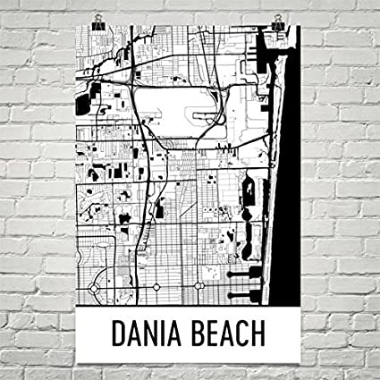 Amazon.com: Modern Map Art Dania Beach Map, Dania Beach Art, Dania on