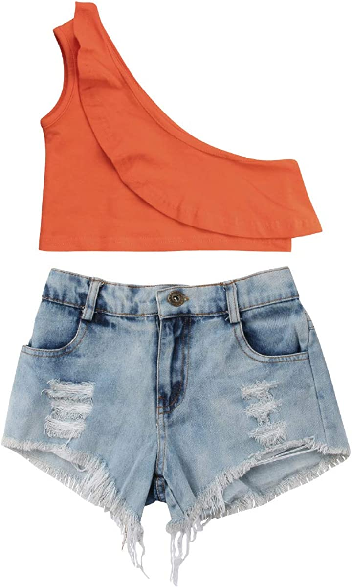 1-6Y Toddler Kids Baby Girl Clothes One Shoulder Ruffle Crop Top+Ripped Denim Short Pants Summer Outfits Set