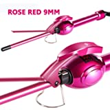 Ausale 9mm Mini Hair Curler Curling Tong Tourmaline Ceramic Barrel Curling Iron for Men Women (Rose Red) Mother's…