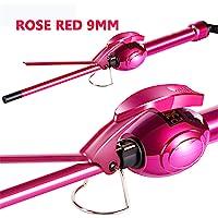 Ausale 9mm Mini Hair Curler Curling Tong Tourmaline Ceramic Barrel Curling Iron for Men Women (Rose Red)