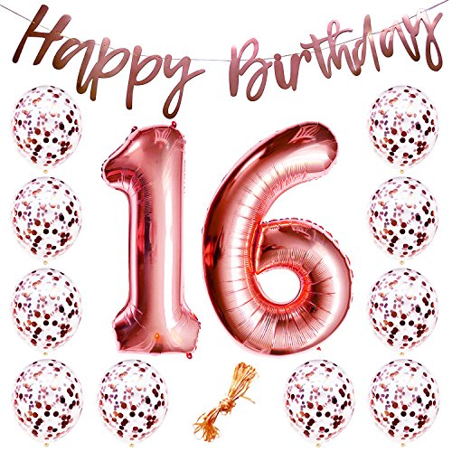 "16th Birthday Party Decorations Rose Gold Decor Strung Banner (Happy Birthday) & 12PC Helium Balloons w/Ribbon [Huge Numbers ""16"", Confetti] Kit Set Supplies 