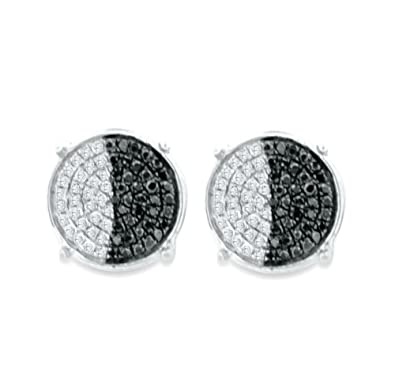 f9cc01da5 Amazon.com: Black Diamond and White Diamond Earrings Mens or Womens Round  Cluster Sterling Silver .25ctw: Jewelry