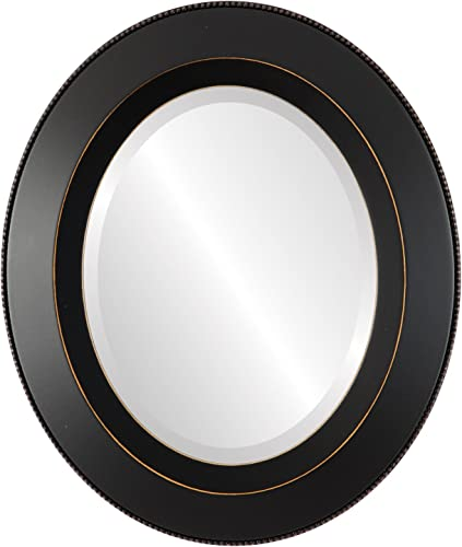 Oval Beveled Wall Mirror for Home Decor – Lombardia Style – Rubbed Black – 36×46 Outside Dimensions