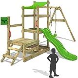 Fatmoose casa dei giochi Rabbit Rally racer XXL, Torre in legno con 3Livelli, scivolo, altalena e sabbiera
