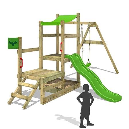 FATMOOSE Playhouse RabbitRally Racer XXL Wooden climbing frame with ...