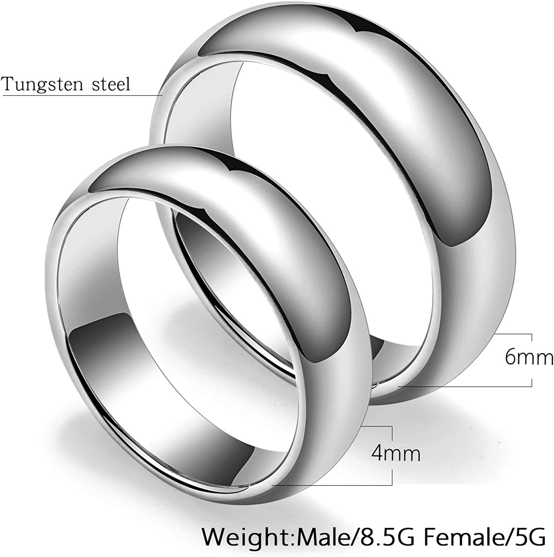 MONIYA 2pcs Polished Tungsten Rings for Couple Silver Tone Promise Rings Wedding Engagement Band Set
